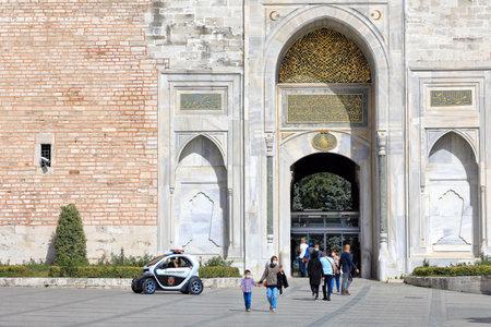 ISTANBUL, TURKEY - OCTOBER 05, 2020. Imperial Gate of Topkapi Palace. Sultanahmet neighborhood, city of Istanbul, Turkey.