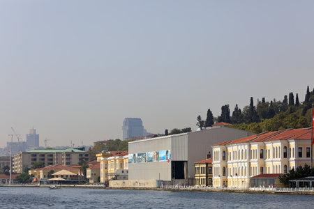 ISTANBUL, TURKEY - OCTOBER 06, 2020. Embankment of Bosphorus. View of the Kabatas High School. Ortakoy neighborhood, Besiktas district, city of Istanbul, Turkey.