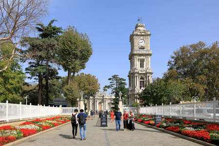ISTANBUL, TURKEY - OCTOBER 06, 2020. Dolmabahce Palace. View of the Clock tower. Besiktas district, city of Istanbul, Turkey.
