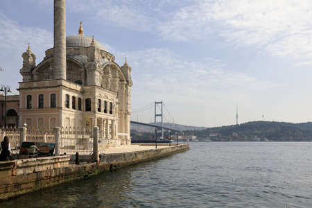 ISTANBUL, TURKEY - OCTOBER 06, 2020. Ottoman Neo-Baroque style Ortakoy Mosque and Bosphorus Bridge on the Bosphorus Strait, viewed from the Ortakoy square. Besiktas district, city of Istanbul, Turkey.