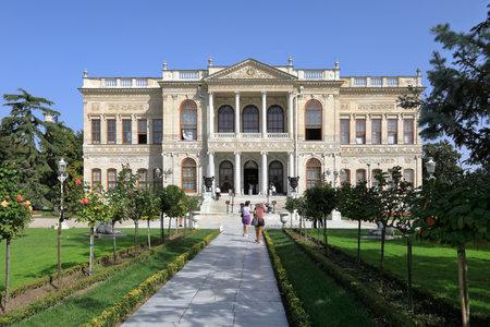 ISTANBUL, TURKEY - OCTOBER 06, 2020. Dolmabahce Palace. Exterior facade of the Selamlik and Selamlik garden. Besiktas district, city of Istanbul, Turkey.