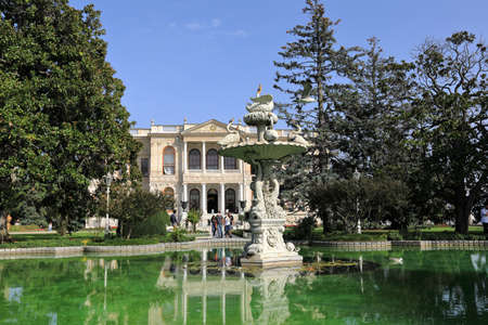ISTANBUL, TURKEY - OCTOBER 06, 2020. Dolmabahce Palace. View of the Selamlik and Selamlik garden. Besiktas district, city of Istanbul, Turkey.