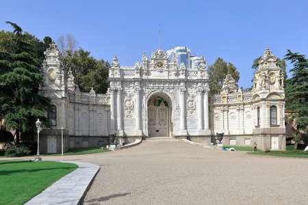 ISTANBUL, TURKEY - OCTOBER 06, 2020. Dolmabahce Palace. Interior facade of the Gate of the Sultan on Dolmabahce Avenue. Besiktas district, city of Istanbul, Turkey.