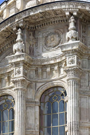 Ottoman Neo-Baroque style Ortakoy Mosque. Detail of the facade. Besiktas district, city of Istanbul, Turkey.