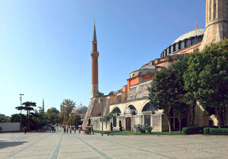 ISTANBUL, TURKEY - OCTOBER 05, 2020. View of Hagia Sophia the fall during pandemic. Deserted square. Sultanahmet neighborhood, city of Istanbul, Turkey.