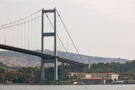 The Bosphorus Bridge over Bosphorus Strait, connecting Asia and Europe, as viewed from Ortakoy neighborhood. View of the Asian side. City of Istanbul, Turkey. 写真素材
