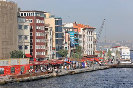 ISTANBUL, TURKEY - OCTOBER 06, 2020. Rihitim Caddesi embankment as seen from Galata Bridge. Karakoy neghborhood in the Beyoglu district of Istanbul, Turkey.