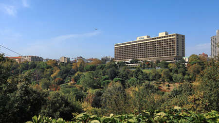 ISTANBUL, TURKEY - OCTOBER 05, 2020. Panoramic view of the Macka Democracy Park in front of the Hilton Bosphorus Hotel. Sisli distict, city of Istanbul, Turkey.