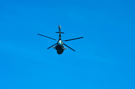 below: flying helicopter, view from below