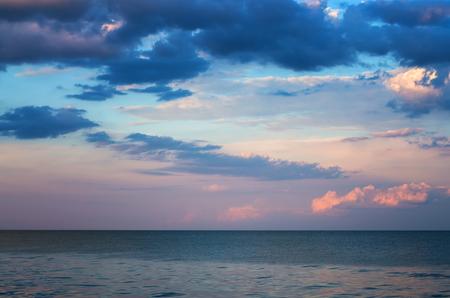 gloomy sky over the sea, horizon calm.