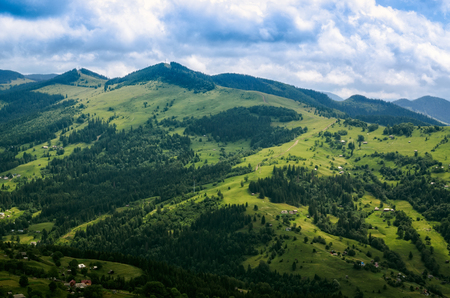 aerial view, mountain hills, home. summer landscape. Ukraine Carpathians