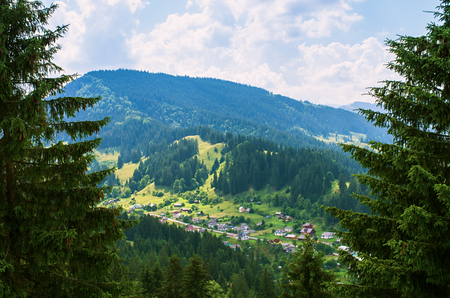 village in the Carpathian Mountains, aerial view
