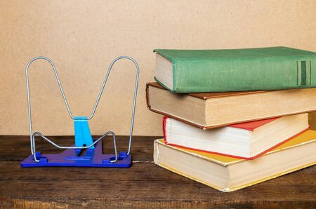 bookend and books on a wooden table
