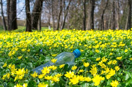 discarded plastic bottles in the grass of the park 免版税图像