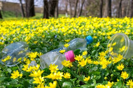 discarded plastic bottles and packaging in the grass of the park