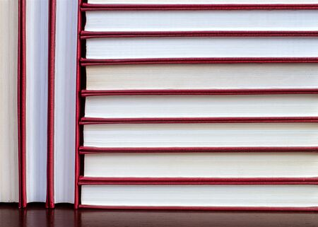 vertical and horizontal stacks of books in a red cover 免版税图像