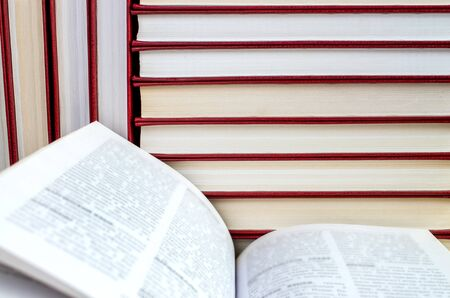 open pages and vertical and horizontal stacks of books 免版税图像