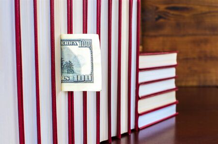 bookmark in the form of a dollar in one of the books in the row
