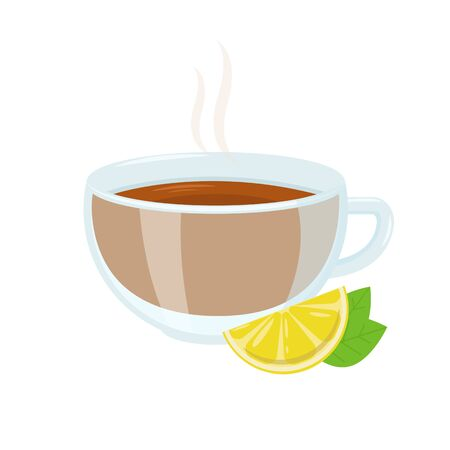 Hot black tea with lemon and mint. Autumn hot drink.