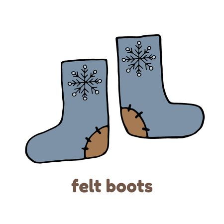 Russian felt boots in vector isolated on white background. Warm winter shoes with bright folk ornament.