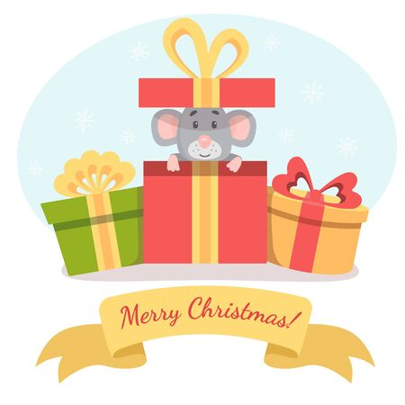Little cute mouse peeks out of gift box and wish you a Merry Christmas. Vector illustration for postcard