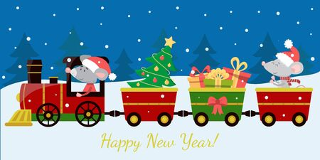 The Christmas train and wagons with gifts on winter background. Holiday congratulatory banner