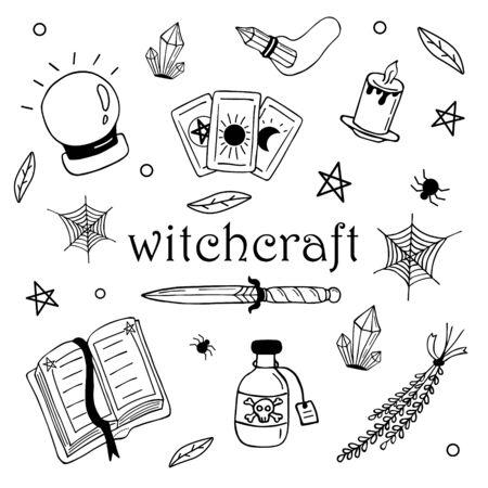 Ensemble d'éléments de conception magique de sorcière de vecteur. Dessiné à la main, griffonnage, collection de magicien de croquis. Symboles de sorcellerie Vecteurs