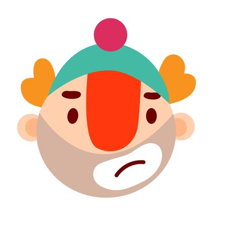 Cartoon doodle emotional clown head with hat, illustration.