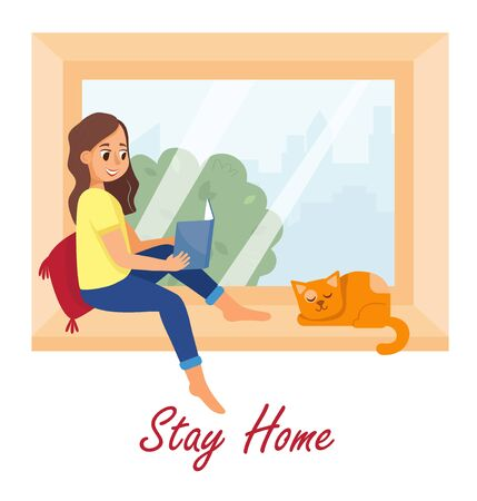 Comfortable home rest at quarantine, vector illustrations. Young woman sitting on windowsill and read book. Illustration