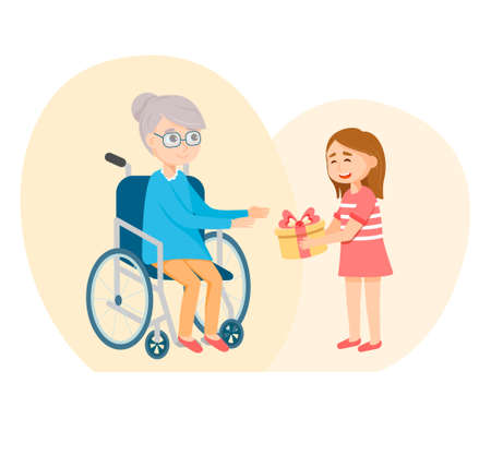 granddaughter give a gift to a disabled grandmother. Vector illustration Illusztráció