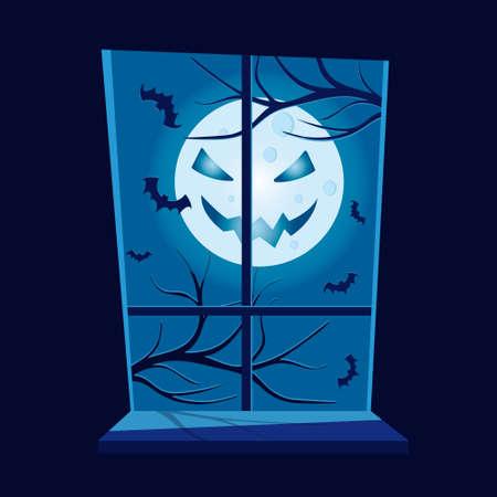 Halloween scene. View from window. Scary moon. Vector illustration