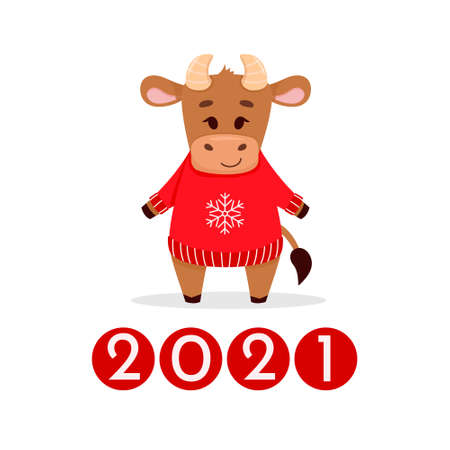 Cute cartoon little bull, symbol 2021. Design for greeting cards, stickers, banners, prints. Xmas card. Happy new year 2021. Vector colorfull illustration.