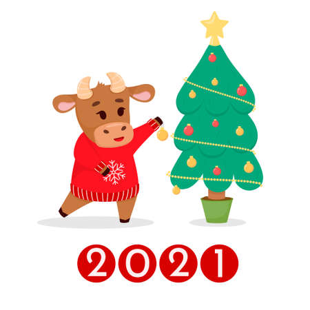 Symbol of the year, bull, decorates the Christmas tree. postcard. Vector illustration