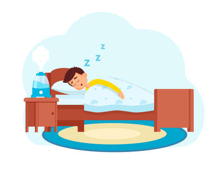 Little boy sleeps in the room where the humidifier works. Vector illustration