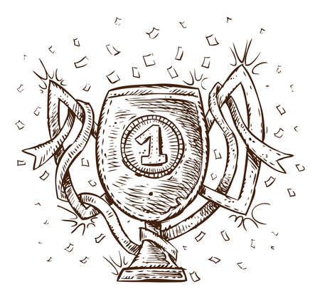 Champions cup. Hand drawn illustration of a winner cup.