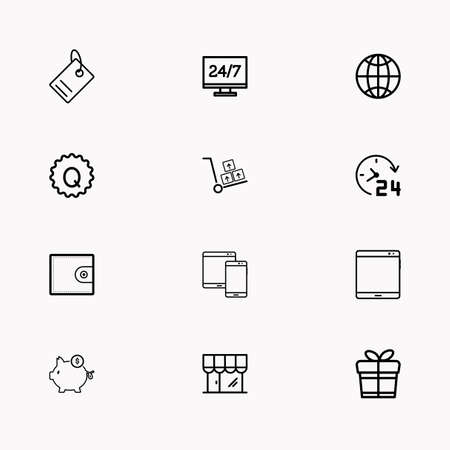 E commerce line icon set