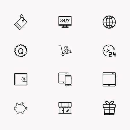 E commerce line icon set