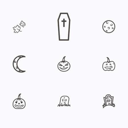 Set of halloween icons vector Vettoriali
