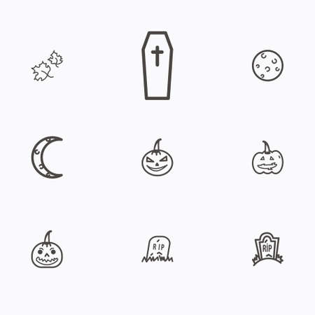Set of halloween icons vector Иллюстрация