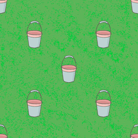 Seamless pattern empty bucket background. Vintage vector illustration Illustration