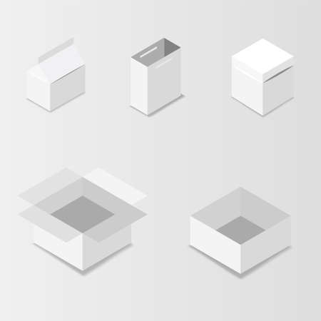 White square box. Cardboard box, container, packaging Vector illustration