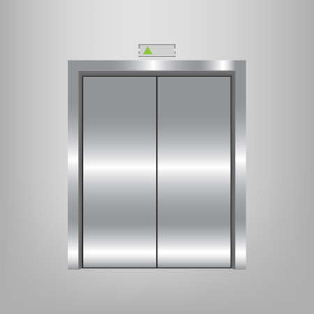 Chrome metal office building elevator doors realistic vector illustration. Modern Metal Elevator Doors.