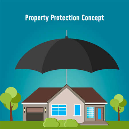 Concept security of property. Insurance home, car, money. Insurance agent holds in hand of house, protection from danger, providing security.