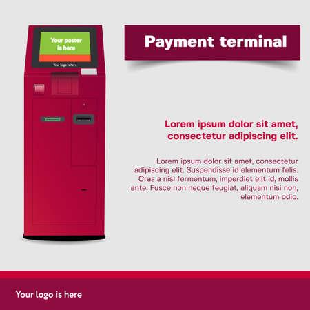 Payment Terminal. ATM, POI Advertising Stand On White Background. Social Media Poster Ilustração
