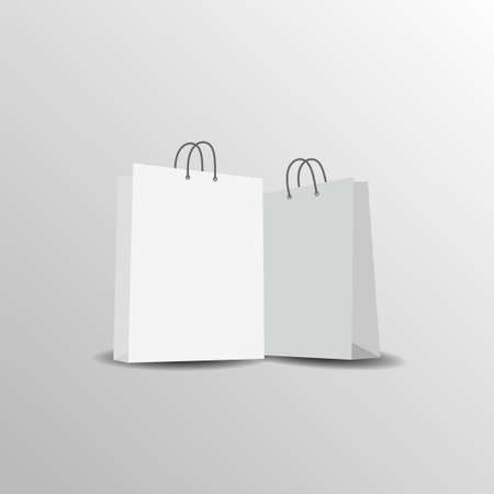 Paper bag mock up vector template on white background. Vector illustration