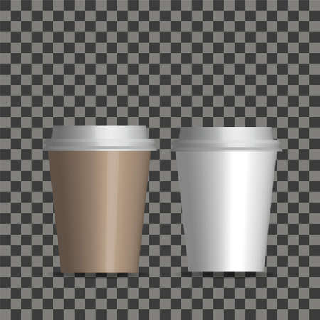 Vector realistic blank paper coffee cup set isolated on transparent background. Illustration