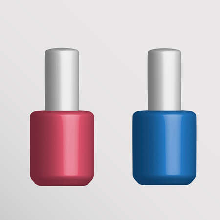 Round glossy nail polish bottle with cap. Realistic packaging mockup template.