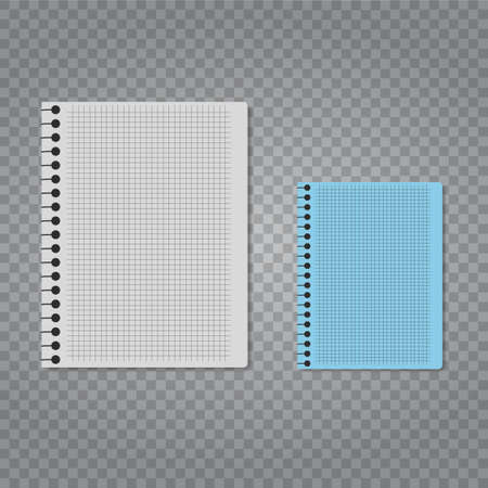 Realistic vector notebook set on transparent background.