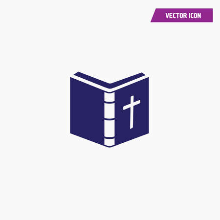 open religious bible book with cross on it,vector, white font