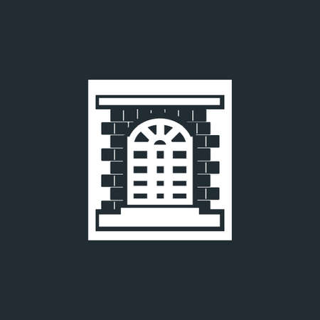 white window with black brick frame icon, white contour, black font, vector